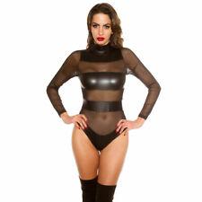 KouCla Leather Look Bodysuit Mesh Panels Long Sleeve Body High collar - Black