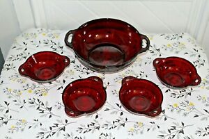 Vintage Ruby Red Glass Anchor Hocking Coronation Berry Bowls And Serving Bowl