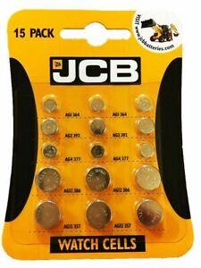 15 JCB Watch Batteries Pack contains 3 of each AG1 AG3 AG4 AG12 AG13