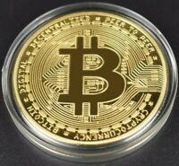 Moneda Bitcoin moneda fisica de Colección coleccionables Color Oro en capsula