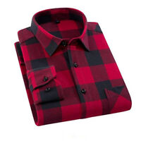 Mens Shirts Plaid Button Down Slim Fit Casual Flannel Smart Work Shirt 2019 New