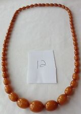 VINTAGE BUTTERSCOTCH BAKELITE BEAD NECKLACE SIMICHROME TESTED CB12