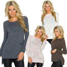 Damen Pullover Pulli Sweater Taschen Einheits-Größe M 36 38 warm Winter top sexy