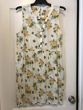 True Craft Sz 2X Women Yellow & Cream Floral Print Sleeveless Sundress!