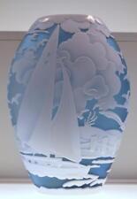 Fenton KELSEY MURPHY SAND CARVED VASE Sail Away 88022L #d 6/150 *Free48stSHIP