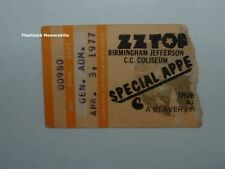Zz Top 1977 Concert Ticket Stub Birmingham Jefferson Rare World Wide Texas Tour