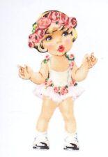Patch Thermocollant en tissu Poupée tutu fleurs roses Iron-on patch Paper Doll