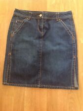 GREAT FCUK BLUE DENIM KNEE LENGTH SKIRT UK SIZE 10 WORN GOOD CONDITION