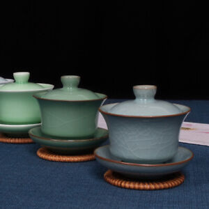 marked longquan celadon gaiwan porcelain tureen covered bowl with cup saucer lid