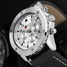 Montre Hommes Mécanique Automatique Mécanique Cuir Noir Date Chronographe Blanc