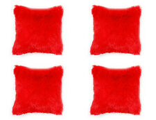 4 X LUXURIOUSLY SOFT & CUDDLY FAUX FUR SHAGGY BLUSH RED CUSHION COVERS