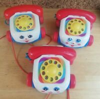 Bundle of 3 x Retro Fisher Price Pull Along Toy Telephone Cars