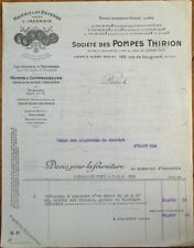 Firefighting/Fireman 1920s French Fire Pump Letterhead, 'Pompes Thirion'