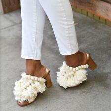 Zara PomPoms Open Toe Cream Ecru Tan Mule High Heels 2662/201 US 6 EU 36