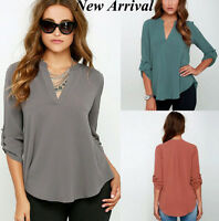 EUR-size Women's Casual Top Chiffon Loose Long Sleeve Blouse Shirt Blouse Tops