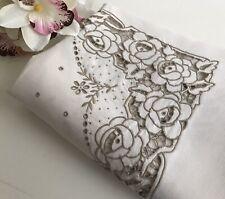 Vintage Linen Roses Hand Embroidered Tablecloth Arts & Crafts Mission Nouveau