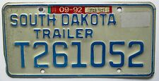 South Dakota 1992 TRAILER License Plate # T261052
