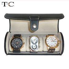 Portable Jewelry Display Case Black PU Leather Storage Travel Roll Bag Watch Box