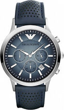 Emporio Armani Blue Leather Quartz Analog Men's Watch AR2473