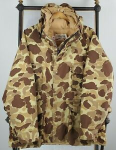 VTG CABELA'S Size XL USA GoreTex Frogskin Camo Hooded Hunting Jacket Coat Mens