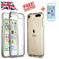 Clear Silicone Gel Case for Apple iPod Touch 5th 6th 7th Gen + Tempered Glass