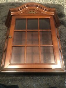 1996 Bombay Table Top Wall Hanging Wood and Glass Curio Display Cabinet Case