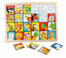 Rahmenpuzzle Tierköpfe aus Holz 24 Teile Tiere Holzpuzzle für Kinder Neu
