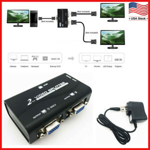 1 PC to 2 Monitor 2 Port VGA SVGA Video LCD Splitter Box Adapter for PC LCD TV