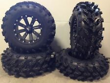 """MSA Black Kore 14"""" UTV Wheels 28"""" Swamp Lite Tires Honda Pionner 1000"""