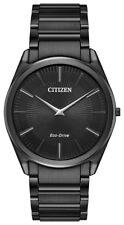 Citizen Eco-Drive Stiletto Men's Guilloche Dial Black 38mm Watch AR3075-51E
