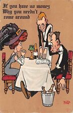 R Lillo~Comic Pun~Elegant Couple Get Waiter's Bill~No Money? Don't Come Around