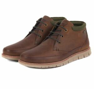 Barbour Men's Nelson Chukka Boots Leather Lace Up in Choco - MFO0386
