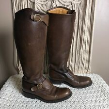 alberto fasciani Leather Tall Riding Boots Buckle Zip Closure Italy 37 Sz US7