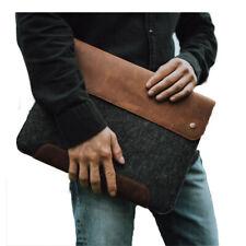 "Laptop Sleeve Leather Fleece Bag MacBook Pro Air Case 16"" 15"" 13"""