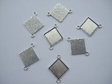10 Antique Silver Square Cameo Cabochon Settings 20x20mm Trays Blanks Connector