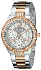 Guess Women`s Rose Gold 2-Tone Sparkling Glitz Bezel Analog Dial Watch U0111L4