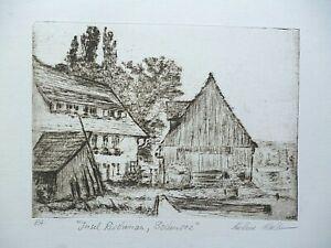 Grafik, Radierung, Kaltnadel, Kai-Uwe Koelber, Bodensee, Insel Reichenau, Idyll