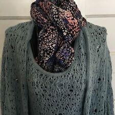Marla Wynne blue crochet bolero matches blue tank top (see listing) sz XS unique
