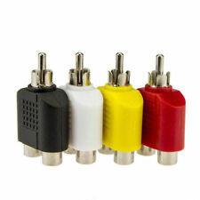 4Pcs RCA Y Splitter 1-Male to 2-Female Adapter AV Audio Video Plug Converter