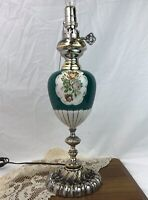 Vtg Table Lamp Ornate Victorian Neoclassical Urn Art Deco Teal Green Silver Rose