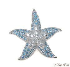 925 Silver Genuine Blue Topaz and CZ Hawaiian Starfish Sea Star Pendant