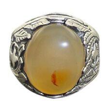 NATURAL YEMEN Agate AQEEQ Solid 925 Sterling Silver Men Ring عقيق يماني