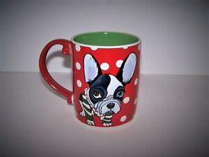 French Bulldog Red & Green Large Polka Dot 12oz. Christmas Mug Cup EUC