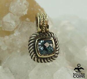 David Yurman 14k Yellow Gold & Sterling Silver Blue Topaz Faceted Stone Pendant