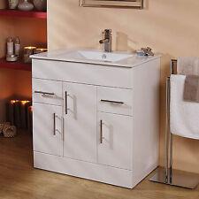 Bathroom Cabinet Vanity Unit ; Door and Drawer Storage ; 750mm White Square