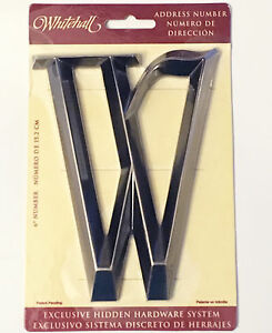 """WHITEHALL Door House Address Street Number Letter W Brushed Nickel 6"""" 152mm 6 in"""