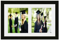 """Wooden Multi Aperture Picture Photo Frame 2 10""""x8"""" Photos Black With Mount"""