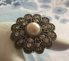 Vintage Style Flower Ring Chunky Cream Faux Pearl Bronze Rhinestone Rockabilly