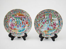 Pair Beautiful Antique Chinese Export Porcelain Plates Rose Famille