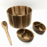 ✅❤️✅@ Acacia Wood Salad Set 1 Large Serving with 2 Individual Bowls & 1 Spoon